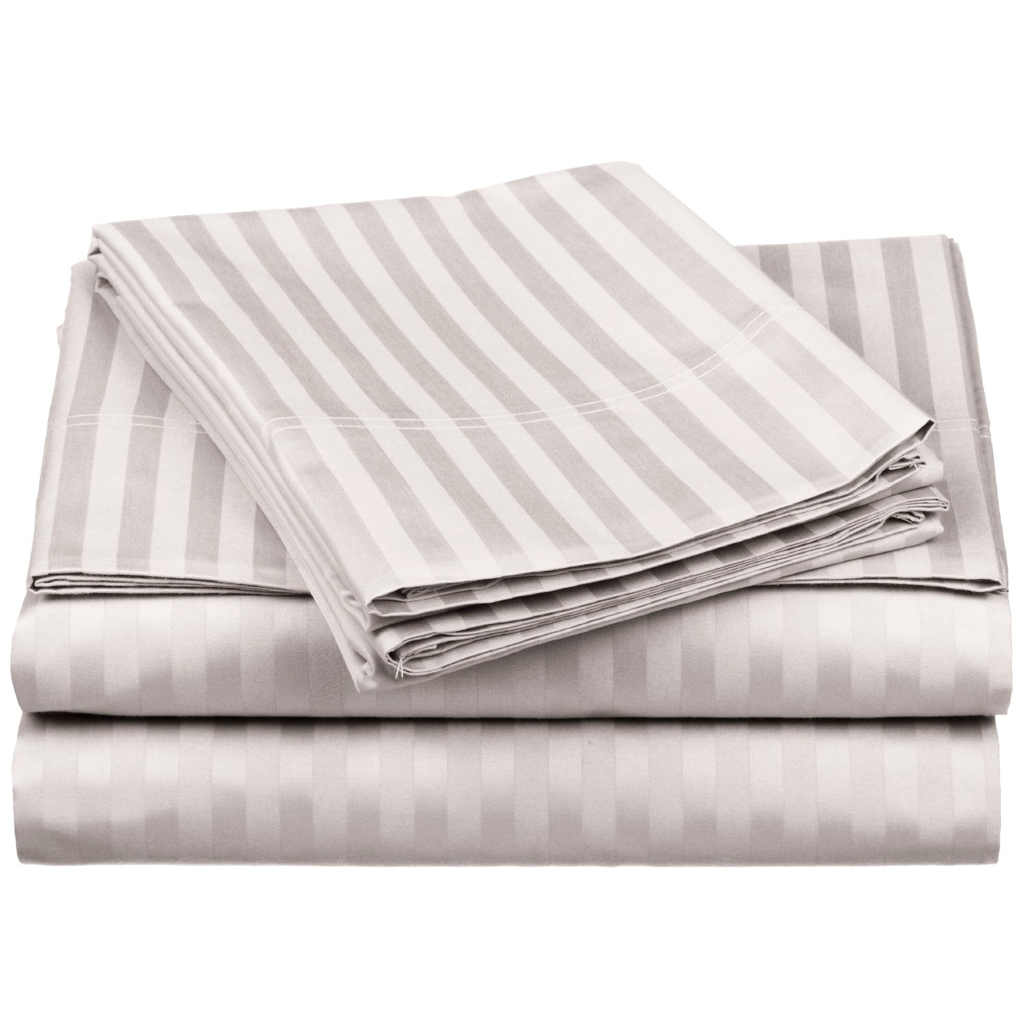 100% Egyptian Cotton 650 Thread Count King 4-Piece Sheet Set, Deep Pocket, Single Ply, Stripe, Silver