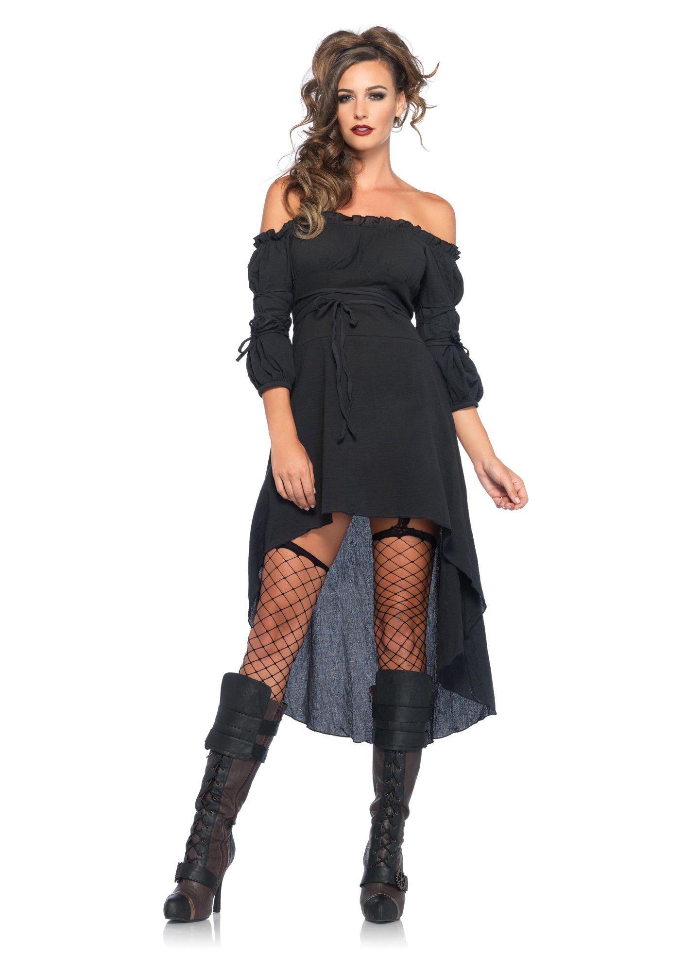 Leg Avenue Women's Plus-Size Plus High Low Peasant Dress Costume, Black, 1X/2X