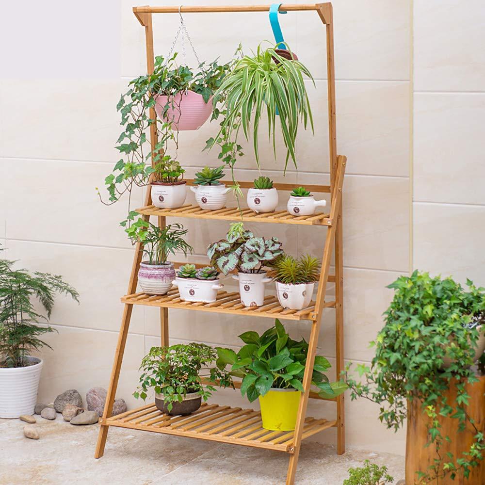 Étagère à fleurs et plantes aromatiques en bambou