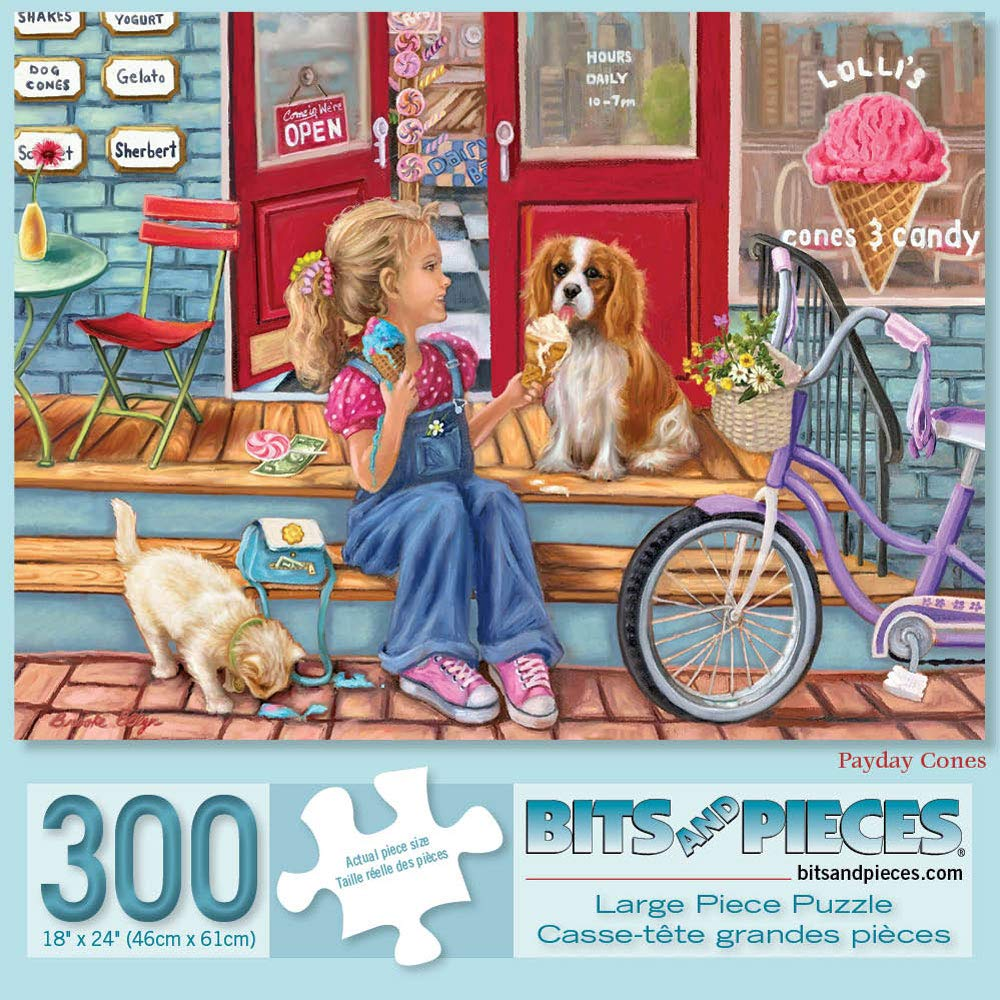 """Bits and Pieces - 300 Piece Jigsaw Puzzle for Adults 18"""" X 24"""" - Payday Cones - 300 pc Jigsaw by Artist Brooke Faulder"""