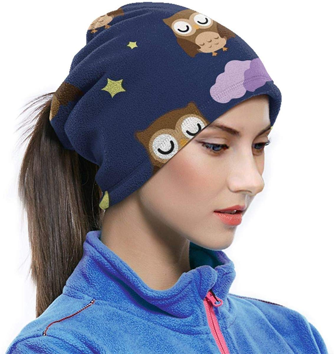 Beautiful home 1 Microfiber Neck Warmer Nebula Moon Night Owl Neck Gaiter Tube Ear Warmer Headband Scarf Face Mask Balaclava Black