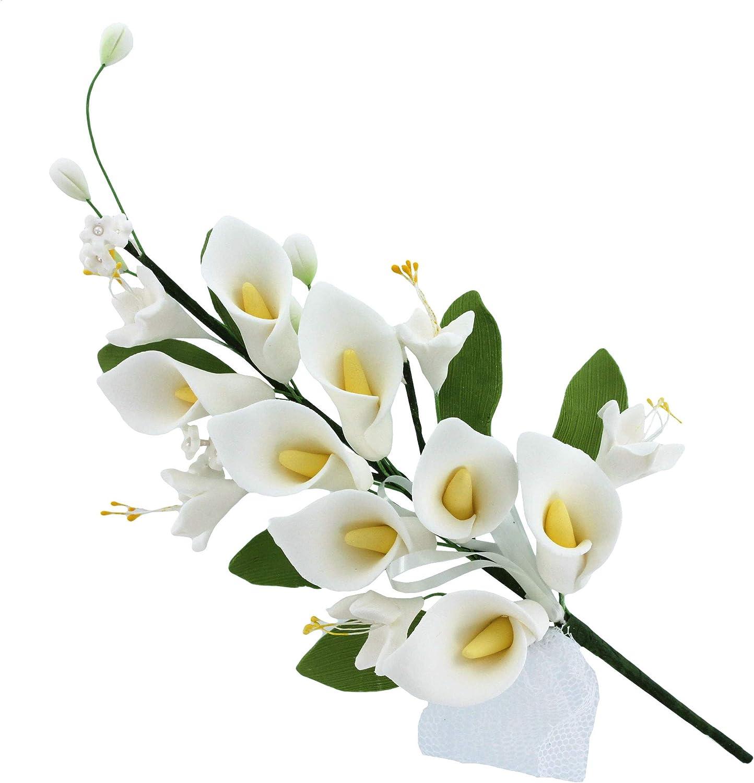 Global Sugar Art Calla Lily Cascade Sugar Cake Flowers Spray, White, 1Count by Chef Alan Tetreault