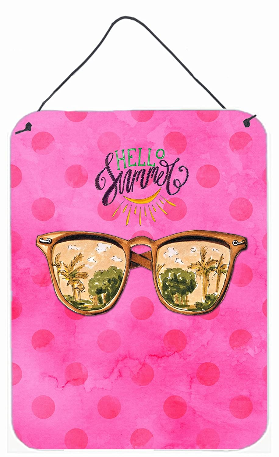 Caroline's Treasures Beach Sunglasses Pink Polkadot Metal Print 16hx12w Multicolor