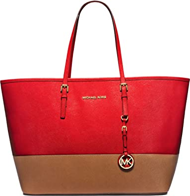 766b2c13cb9b Amazon.com  MICHAEL Michael Kors Jet Set Travel Medium Color-Block Leather  Tote