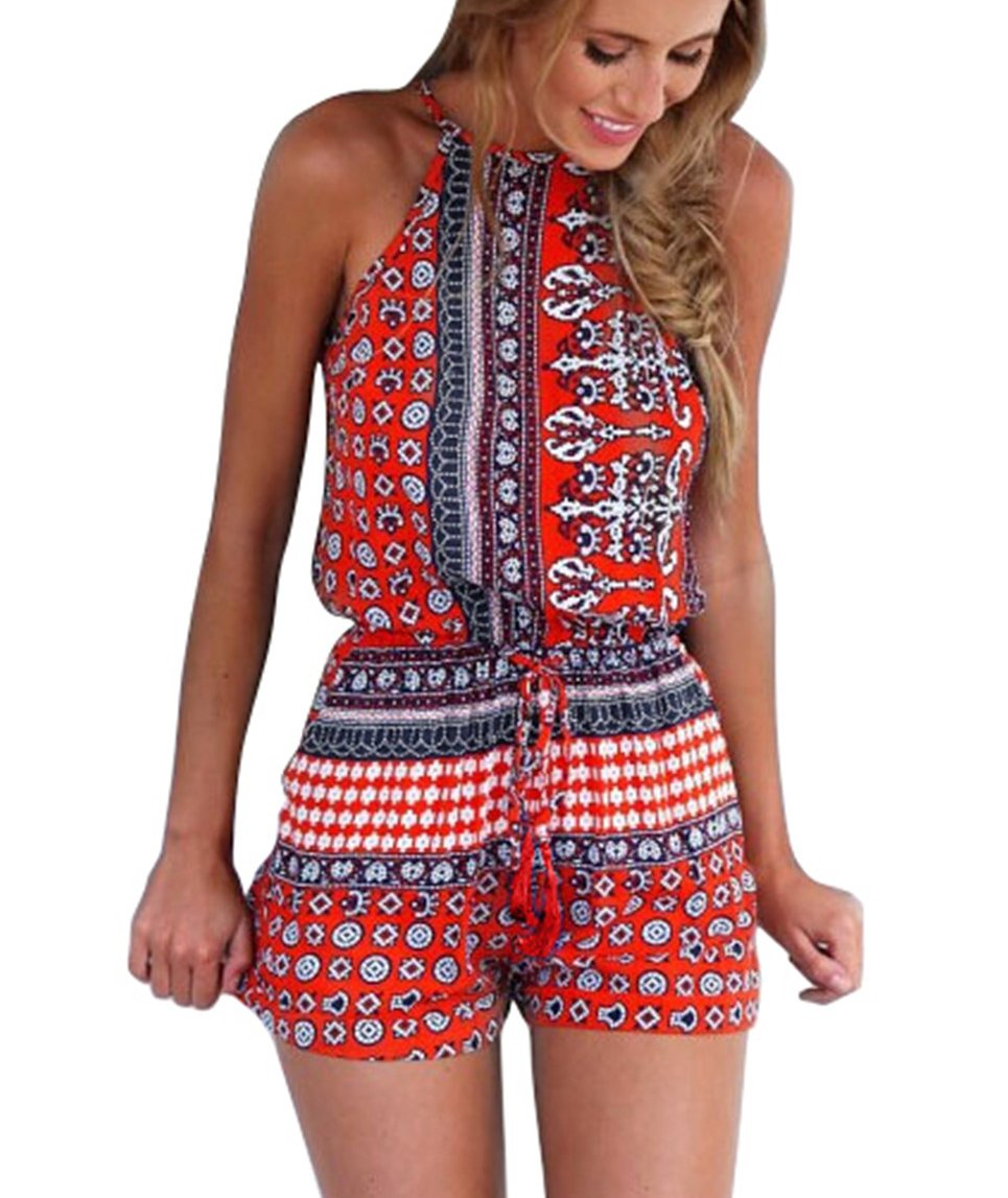 Ayliss Women\'s Sexy Cut out back Bohemian Casual Loose Romper Playsuit,Red M