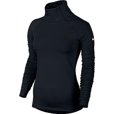 94dde871 Amazon.com: New Nike Women's Pro Warm Zip L/S Shirt Black/White X ...
