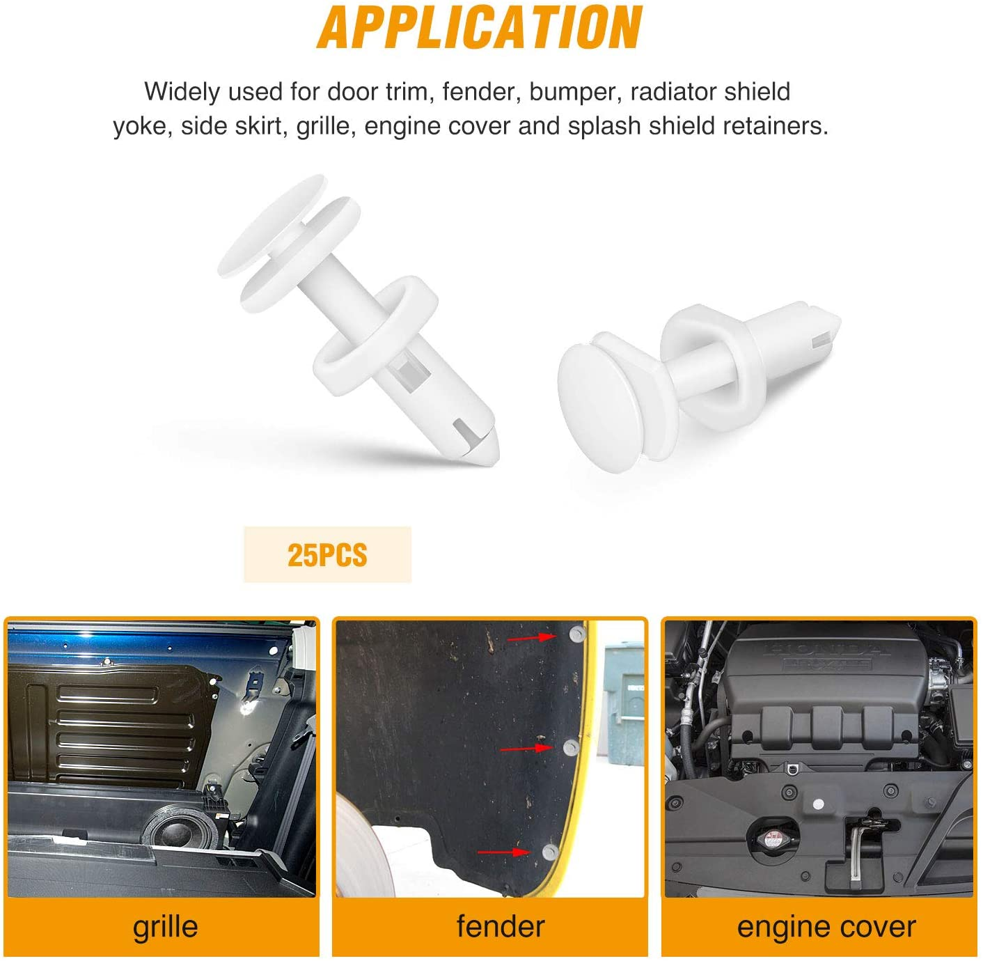 GOOACC 115 Pcs Automotive Nylon Universal Pop Rivet Assortment 6 Most Popular Sizes /& Applications for GM Ford Chrysler VW