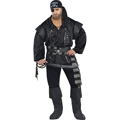 92780d78974 AMSCAN Dark Sea Scoundrel Pirate Halloween Costume for Men, Plus Size, with  Included Accessories