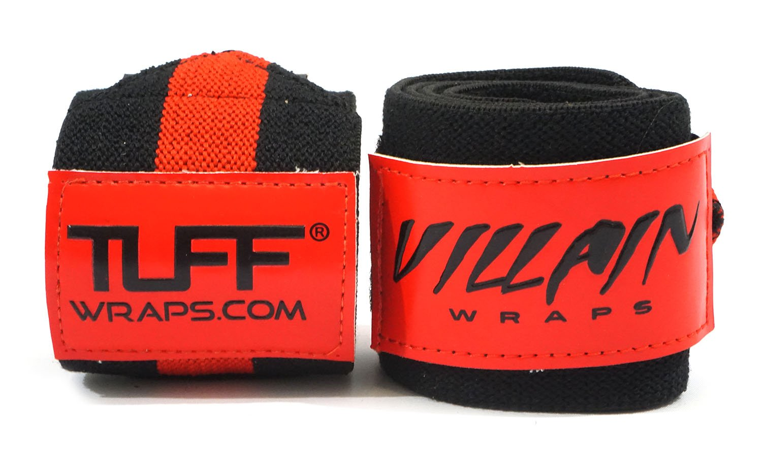 Villain Wrist Wraps 30'' for Powerlifting, Weightlifting, Strongman Training, Crossfit - (Black / Red, 30 Inches)