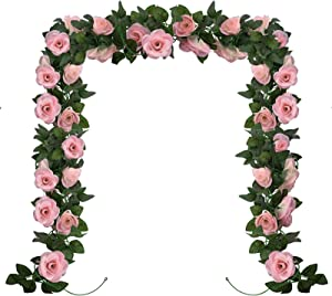 Huryfox 2 Pack Artificial Flower Garland Pink Rose Flowers Vine Decorations Fake Floral Vines Wedding Flowers for Arch Wall Birthday Party Wedding Room Decor (15 Feet)…