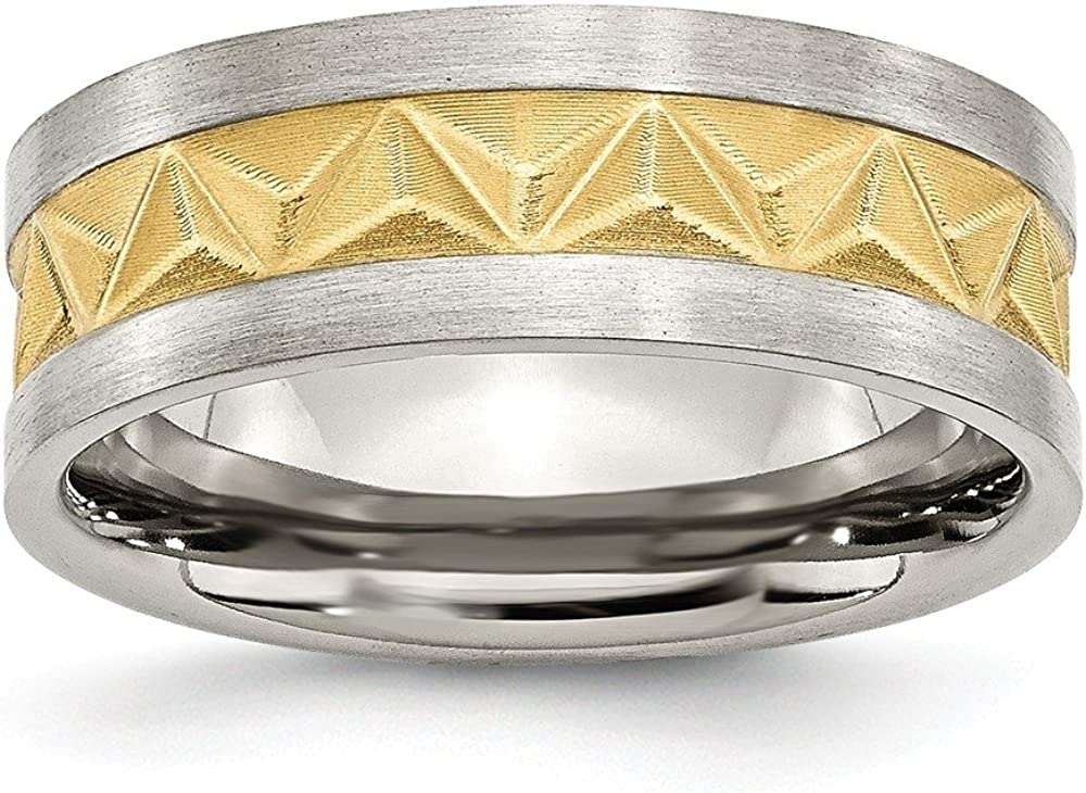 10, Jay Seiler Stainless Steel Grooved Yellow IP-Plated Mens 8mm Brushed Band Size