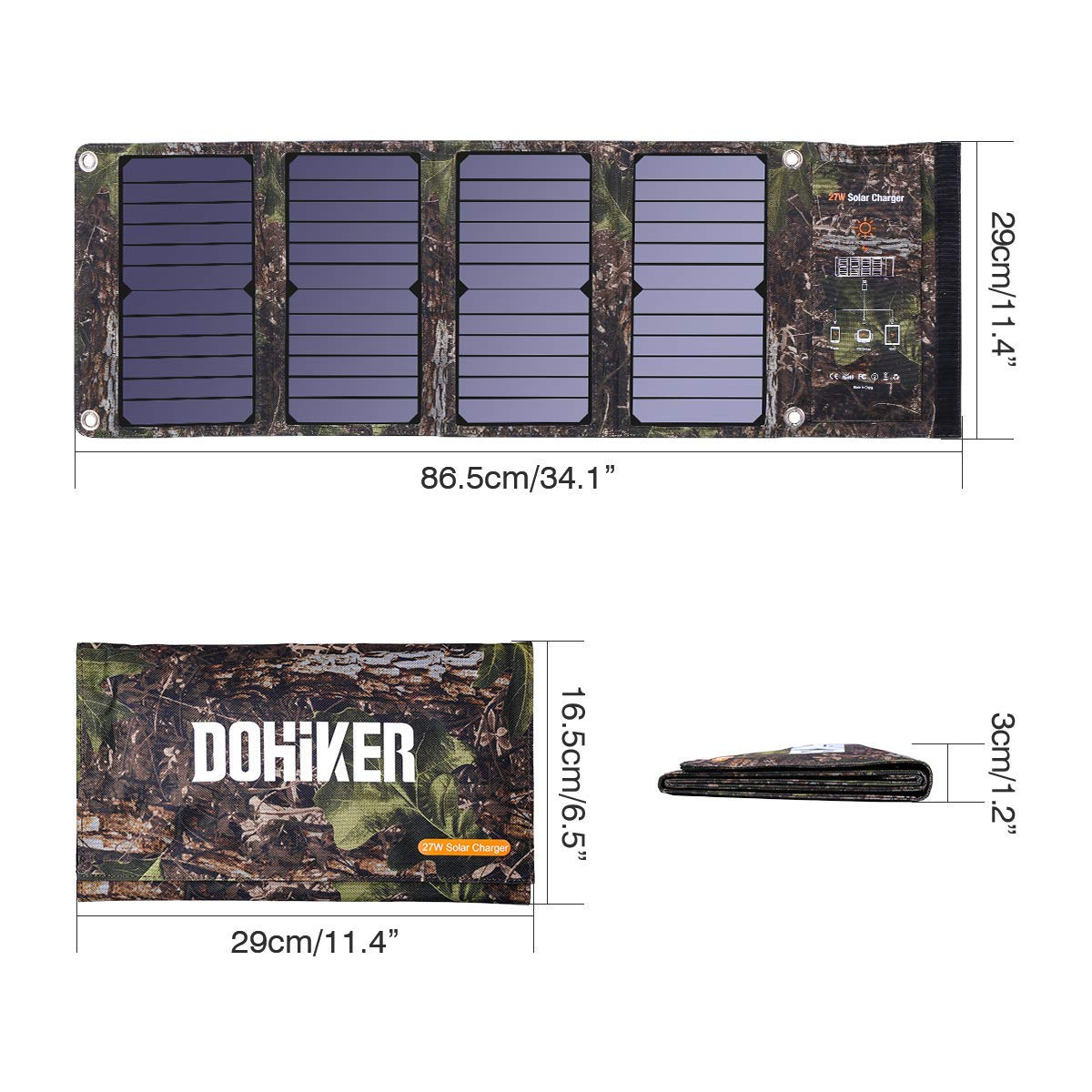 Dohiker Portable Foldable Solar Panel Charger, 27W Solar Phone Charger with 3 USB Ports,Durable & Waterproof Solar Charger for Cell Phone, PowerBank, and Electronic Devices, Great for Camping, Hiking by Dohiker (Image #8)