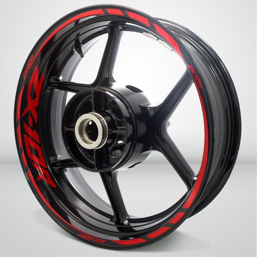 Kawasaki ZX10R Gloss Red Motorcycle Rim Wheel Decal Accessory Sticker