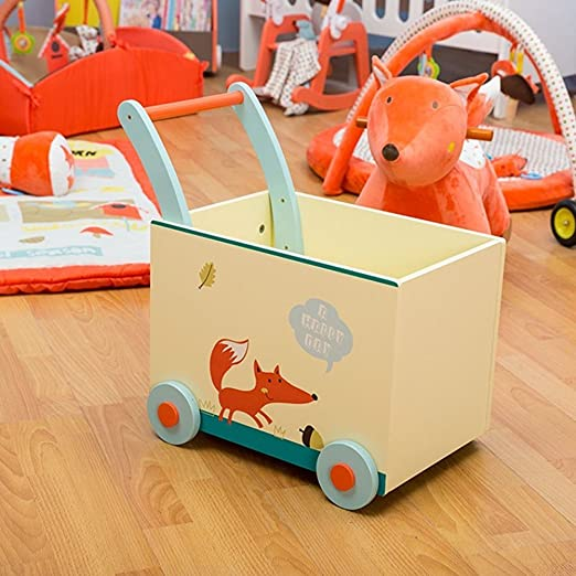 Labebe Baby Walker with Wheel, White Fox Printed Wooden Push Toy, 2-in-1 Wooden Activity Walker for Baby 1-3 Years, Baby Wagon/Infant Baby Walker ...