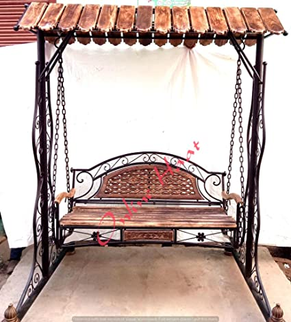 Kraftee Wooden N Wrought Iron Garden And Balcony Swing Garden/Jhula/Hammocks  For Home
