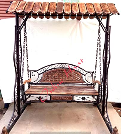 Kraftee Wooden N Wrought Iron Garden And Balcony Swing Garden Jhula