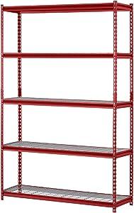 "Muscle Rack UR184872-R 5-Shelf Steel Shelving Unit, 48"" Width x 72"" Height x 18"" Length, Red"