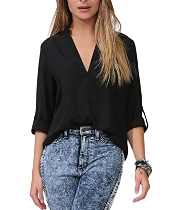 LOSRLY Women's Loose Solid Chiffon Blouses V Neck Cuffed Sleeve ...