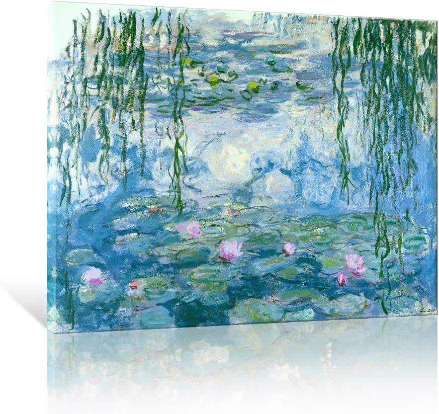 """JAPO ART Water Lilies Floral Canvas Prints Wall Art by Claude Monet Famous Flowers Reproduction for Kitchen Bedroom Bathroom Home Decor Modern Classic Landscape Pictures Giclee Artwork 16""""x12"""""""