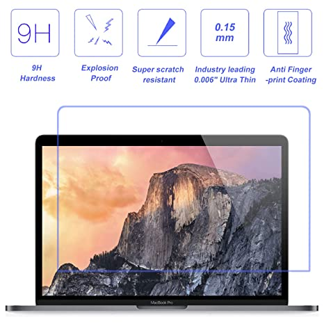 Tempered Glass Screen Protector Compatible 2018 New MacBook Air 13 Inch 9H Hardness Anti Scratch and Bubble Free Glass Screen Cover Model:A1706 A1708 A1989 /&New MacBook Pro 13 Inch Model:A1932
