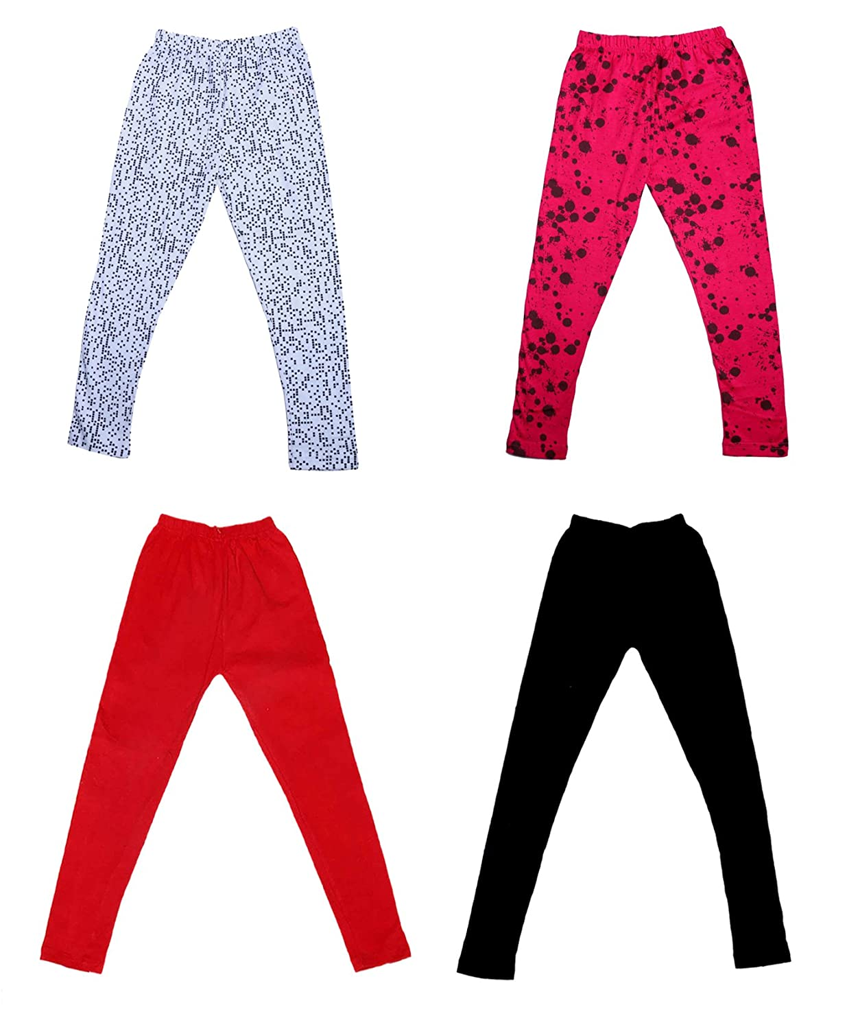 Pack Of 4 and 2 Cotton Printed Legging Pants Indistar Girls 2 Cotton Solid Legging Pants /_Multicolor/_Size-5-6 Years/_71404052021-IW-P4-28