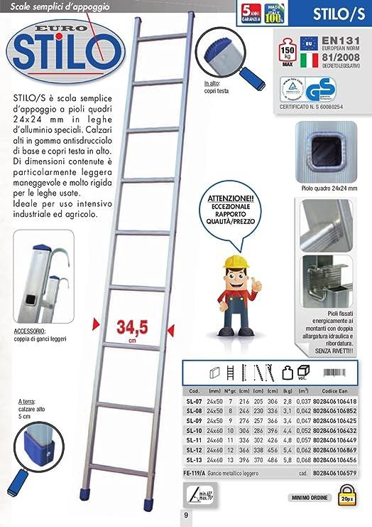 ESCALERA APPOGIO UNA RAMPA FACAL CAPACITIVO DE ALUMINIO 10 GR.NI H. 3,06 MT.: Amazon.es: Bricolaje y herramientas