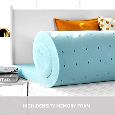 RUUF Memory Foam Mattress Topper Twin 2-Inch, 3 Pound Premium High-Density Ventilated Mattress Pad, Medium-Firm