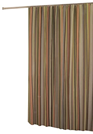 Captivating In Style Cocoa Stripe Shower Curtain, Earth Tone Stripes