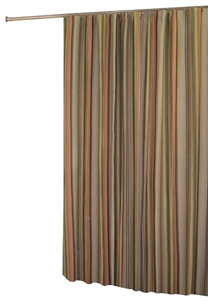 In Style Cocoa Stripe Shower Curtain, Earth Tone Stripes