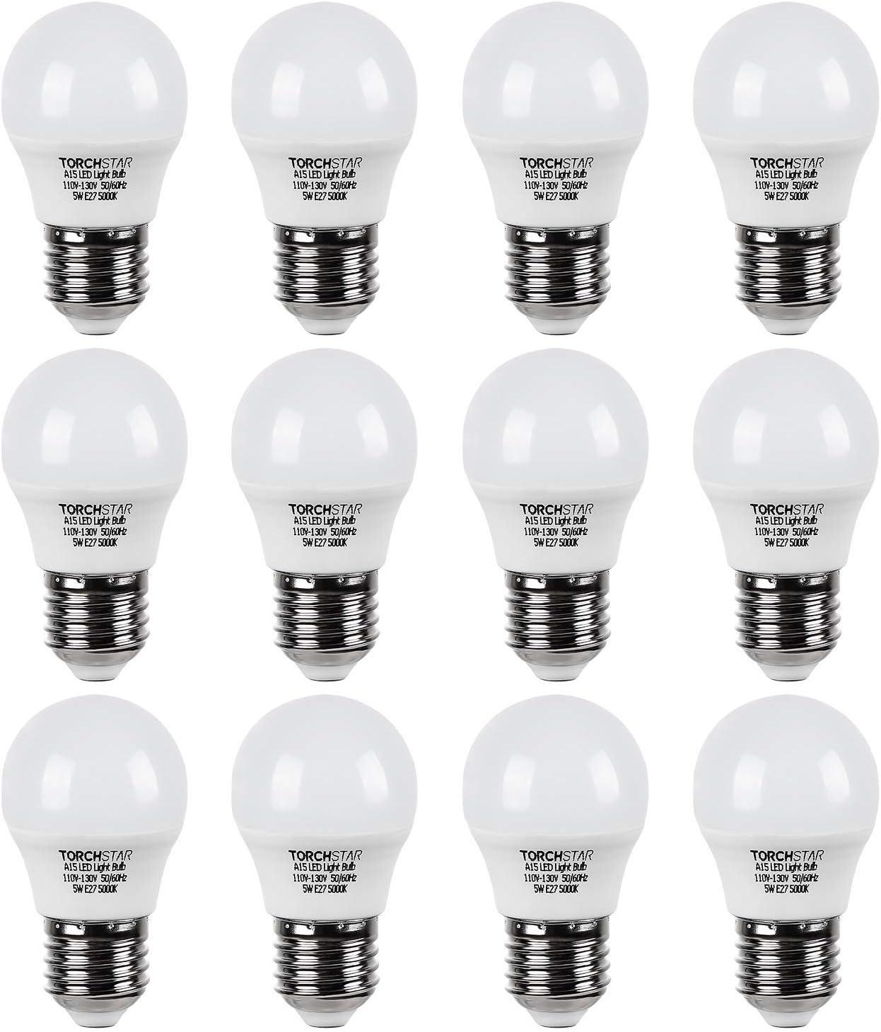 TORCHSTAR 12-Pack A15 LED Fridge Light Bulb, 5W (40W Eqv.), UL-Listed, E26/E27 Base, Omni Directional, 450lm, for Freezer, Desk Lamp, Range Hoods, 5000K Daylight