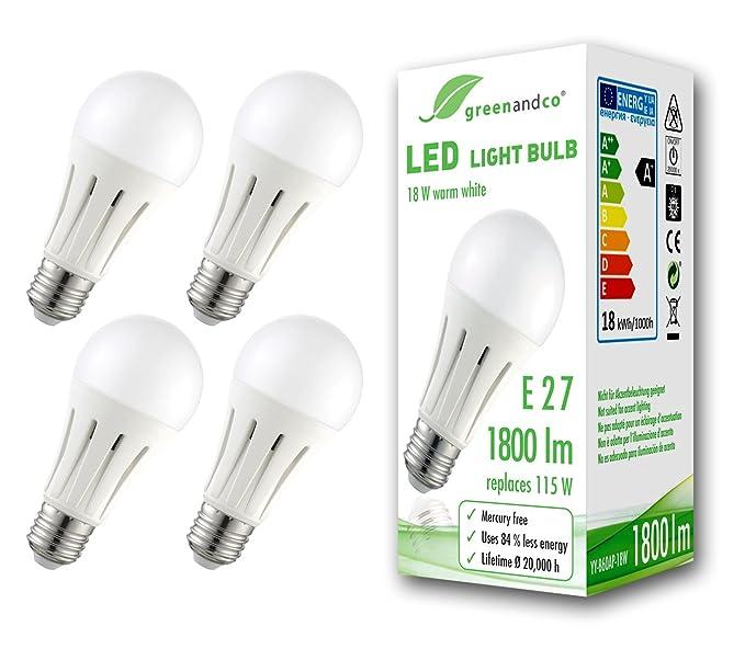 4x Bombilla LED greenandco® E27 18W (corresponde a 115W) opaca 1800lm 3000K (