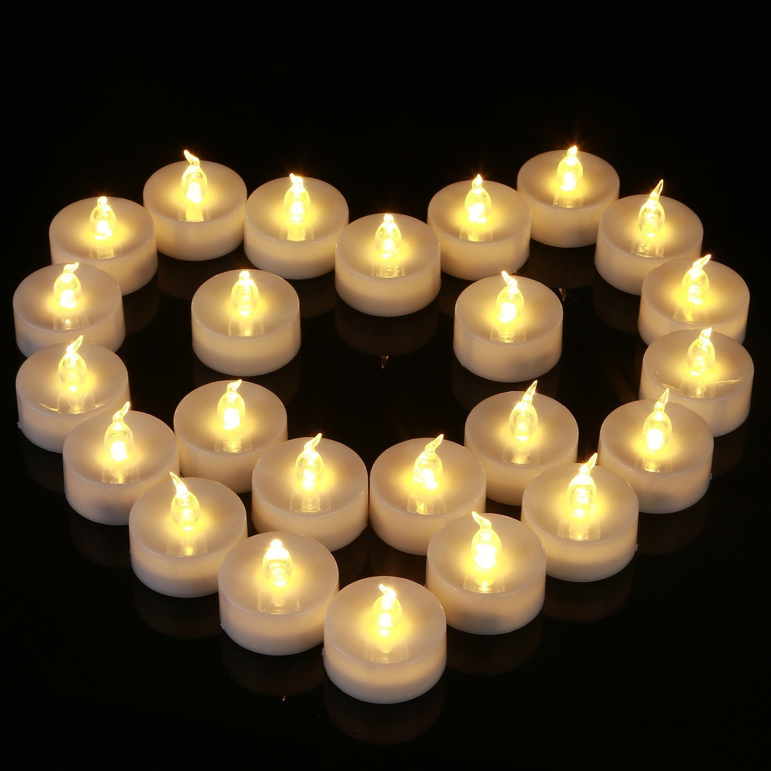 Homemory 24 PACK Warm White Battery LED Tea Lights, Flameless Flickering Tealight Candle, Dia 1.4'' Electric Fake Candle for Votive, Wedding, Party, Table, Dining room, Gift by Homemory (Image #6)