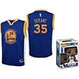 Kevin Durant Golden State Warriors #35 Youth Road Jersey with Funko Pop Figure