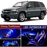 chevy trailblazer 2002-2009 led premium blue light interior package kit (  13 pcs )