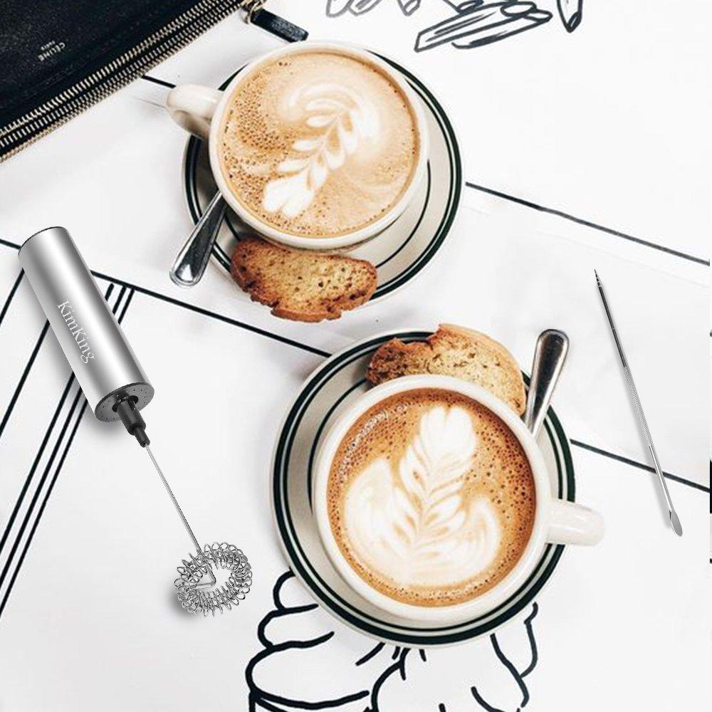 KimKing Batidoras espumadoras de leche eléctricas de mano (Batidor doble + Single Whisk), inoxidable para café, latte, cappuccino, chocolate caliente con ...