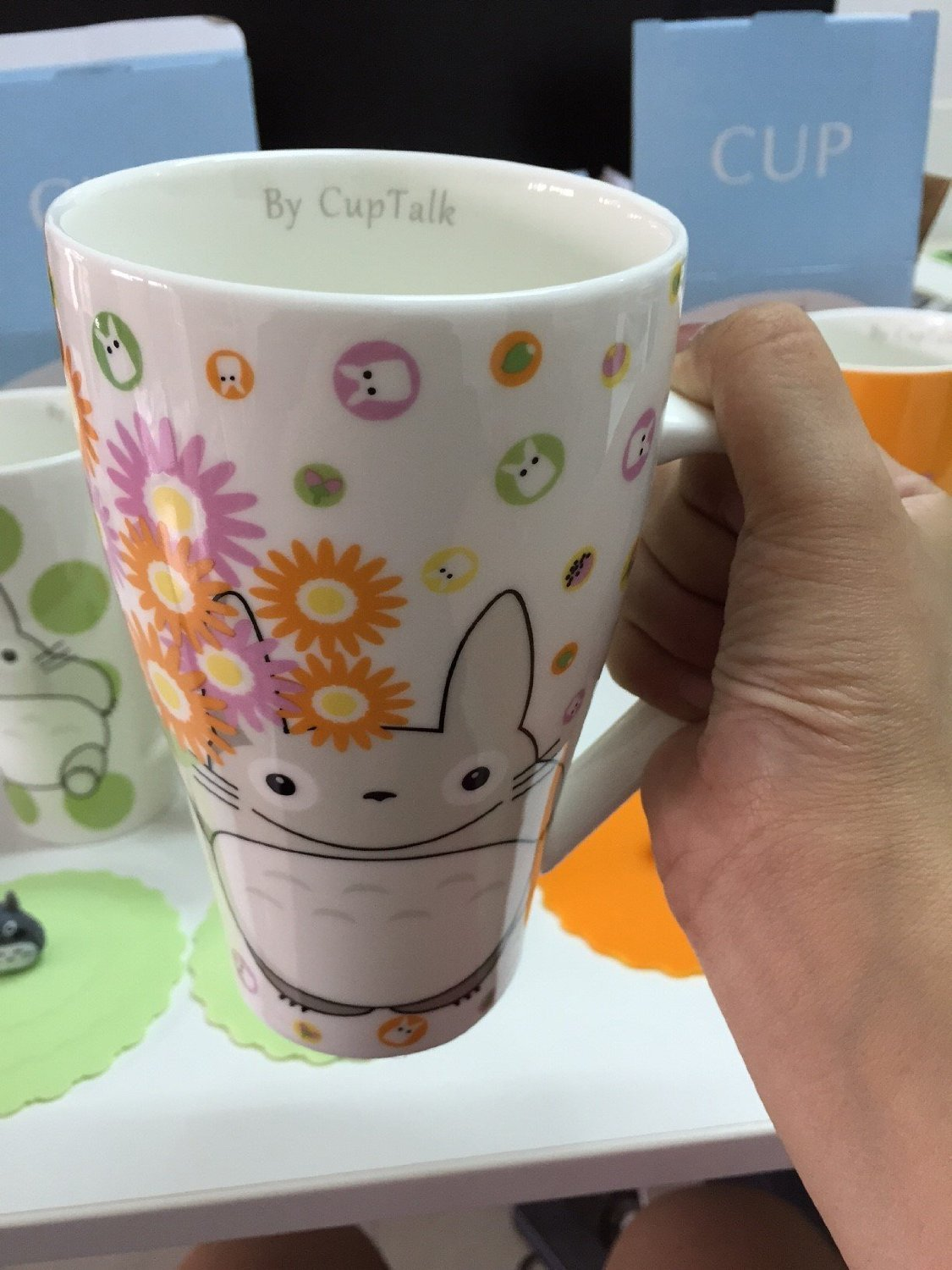 Totoro Mug with Silicone Lid Color Green Cup Talk C-T-T-1