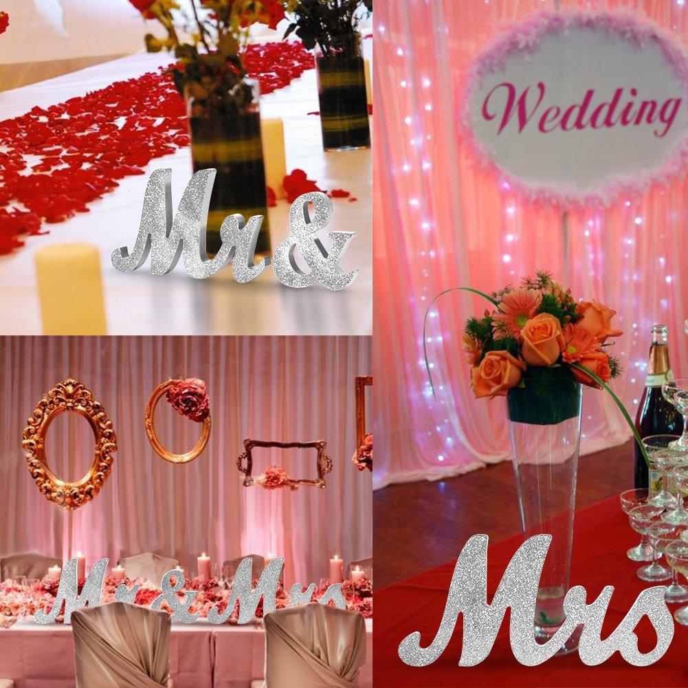 Amazon.com: Adeeing Vintage Style Silver Glitter Mr & Mrs Wooden ...