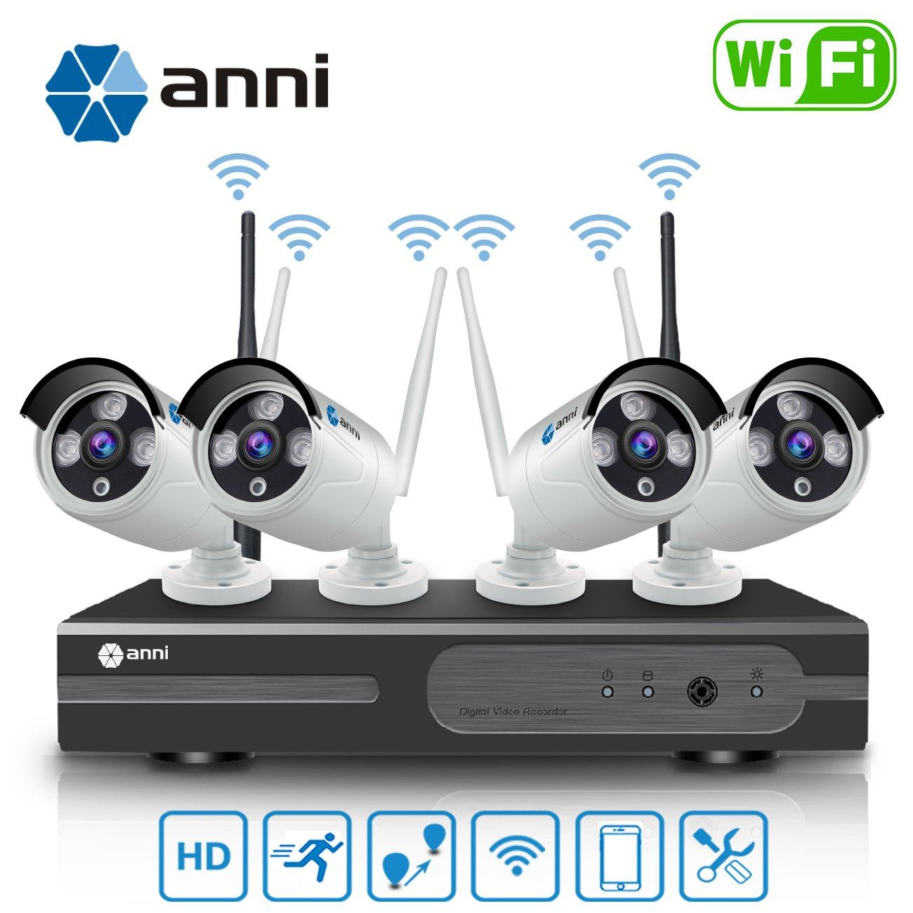 Anni 720P 4CH HD Wireless Security Camera WiFi NVR Kit CCTV Surveillance Systems,(4) 1.0MP Megapixel Weatherproof Wireless Bullet IP Cameras,65ft Night Vision,P2P,No Video Cable Needed,NO HDD by anni