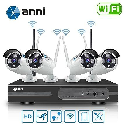 Anni 720P 4CH HD Wifi NVR Kit Wireless Security Camera CCTV Surveillance Systems,(4