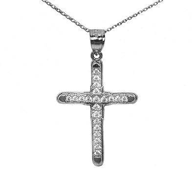 "4561f190354268 Ice on Fire Jewelry 10k Black Gold Cubic Zirconia Cross Pendant Necklace  (16"" Mariner"