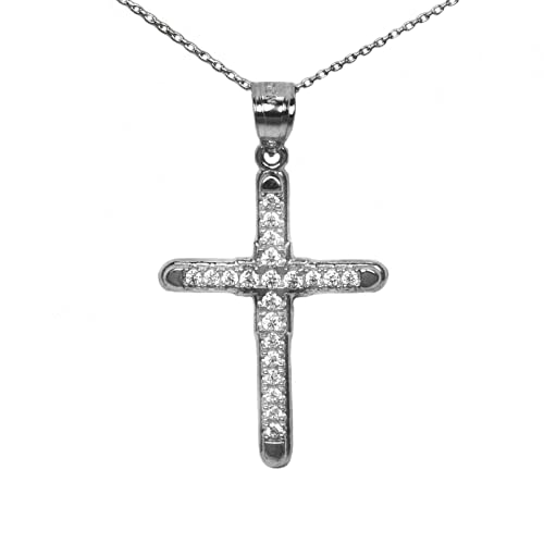 Ice on Fire Jewelry 10k Yellow Gold Cubic Zirconia Cross Pendant Necklace 20 Mariner Chain