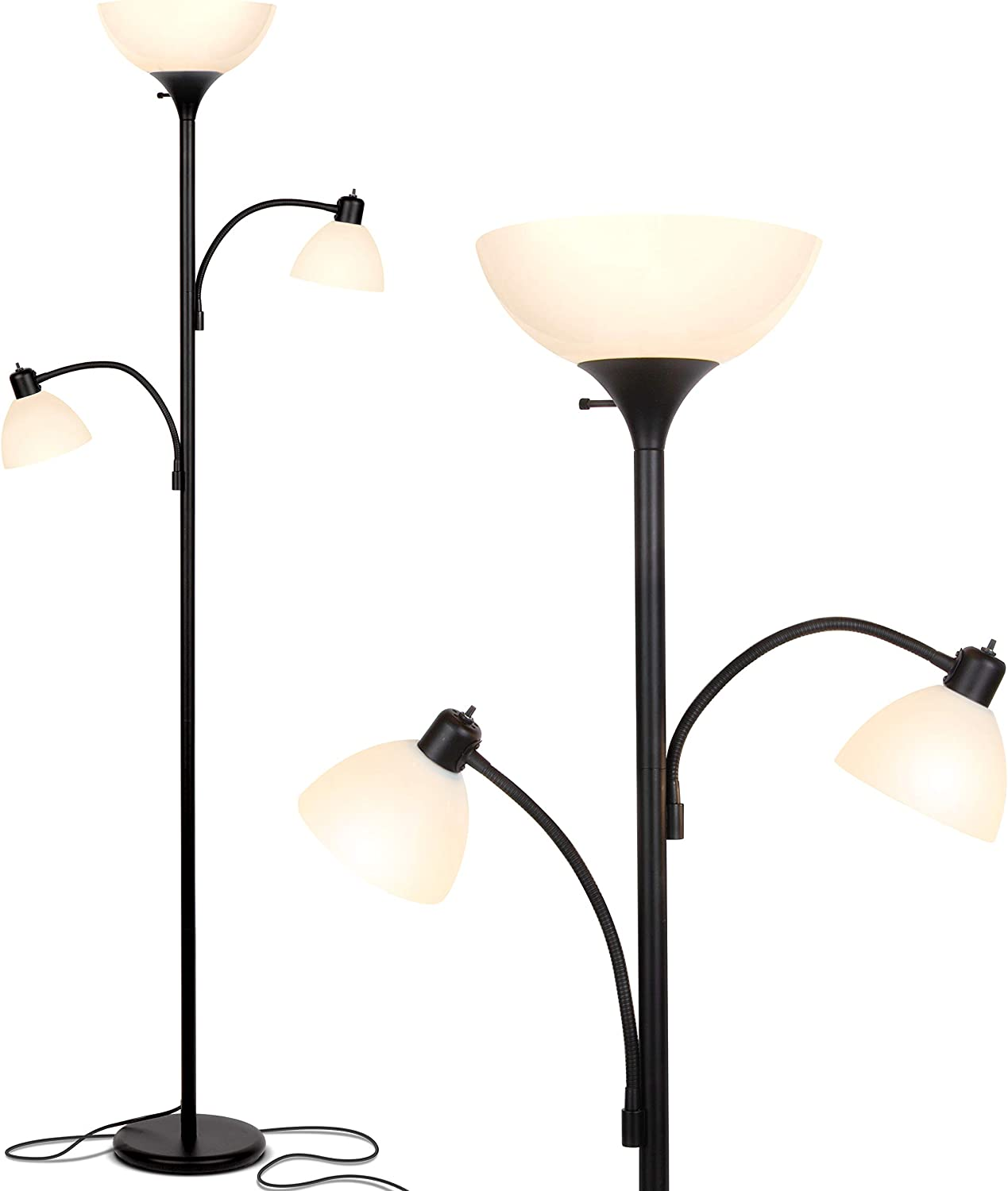 Brightech Sky Dome Double – High Brightness Torchiere Floor Lamp with 2 Reading Lights for Living Rooms, Bedrooms – Replace Halogen Standing Lamps with Efficient LED Office Lighting - Tall Black Pole