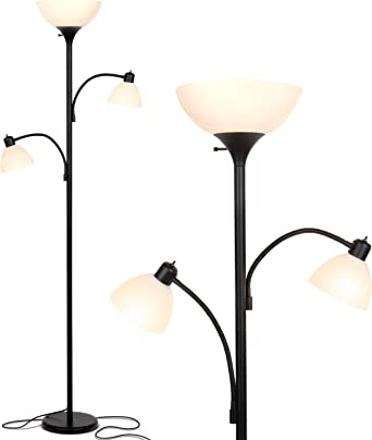 Brightech Sky Dome Double Bedrooms Tall Black Pole Replace Halogen Standing Lamps with Efficient LED Office Lighting High Brightness Torchiere Floor Lamp with 2 Reading Lights for Living Rooms