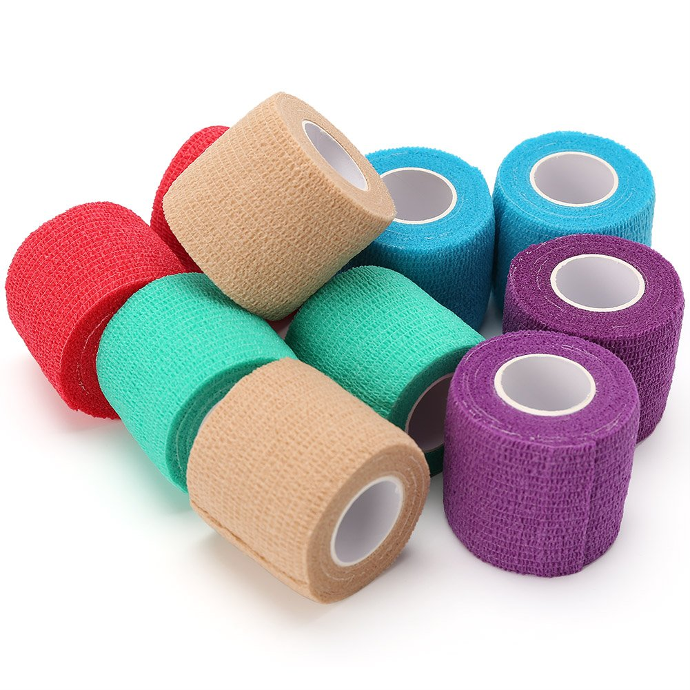 LotFancy Vet Wrap Bandages for Dog Pet Horse Cat Self Adherent Cohesive Tape, 10 Rolls, Assorted Colors, FDA Approved, 2 Inches x 5 Yards
