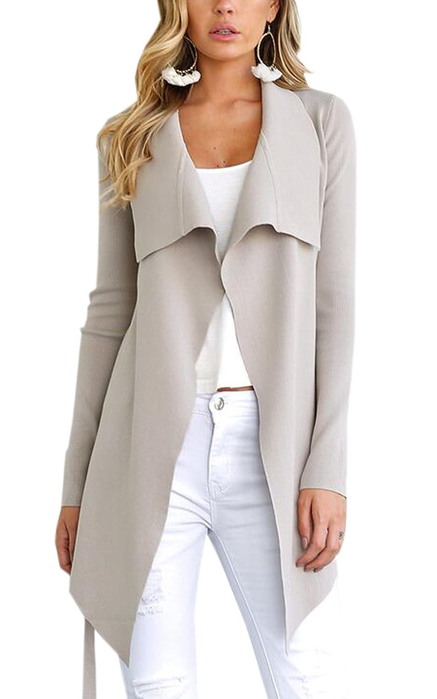 ECOWISH Damen Maxi Offene Cardigan Strickjacke Asymmetrisch Strickmantel Mantel mit Tasche *EH534