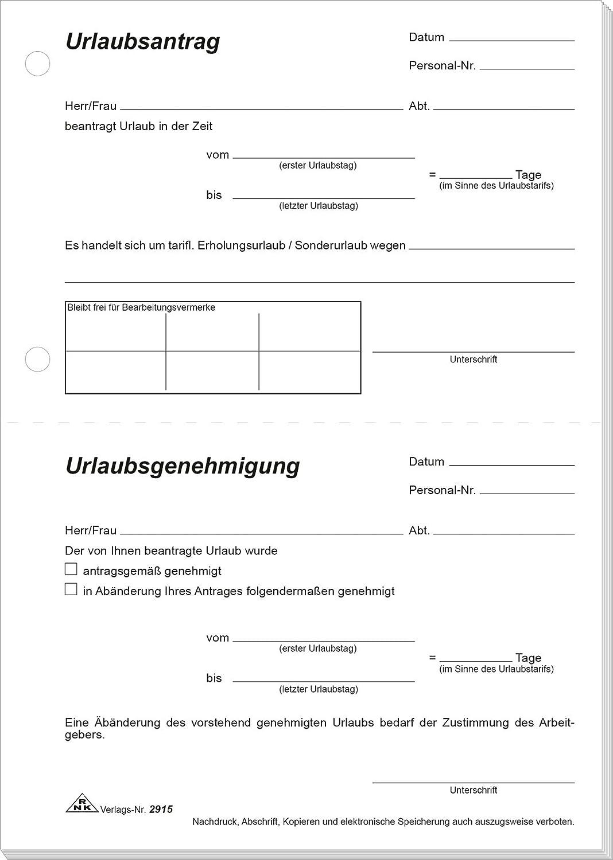 Urlaubsantrag Vorlage Formlos Inhalt Genehmigung
