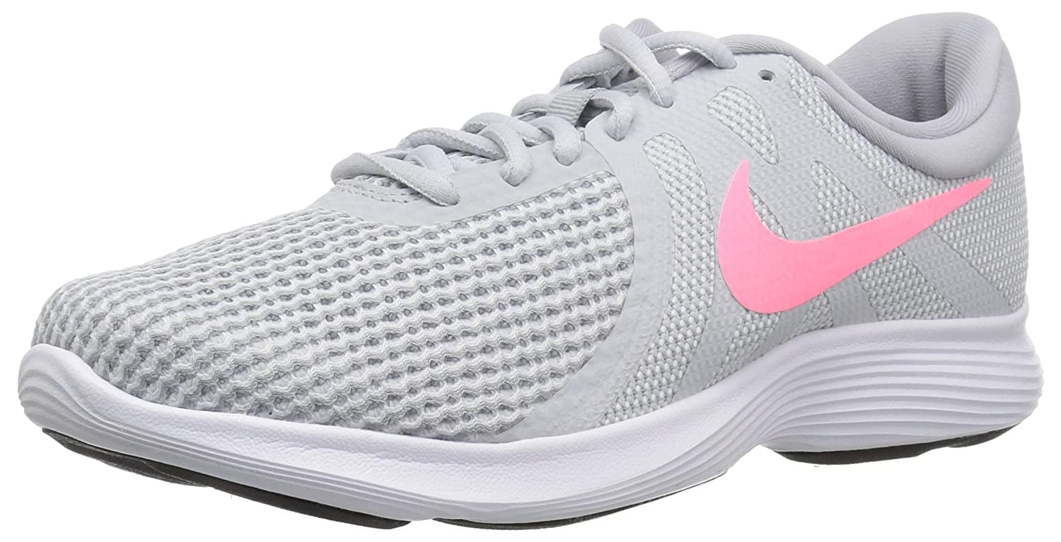 NIKE Women's Revolution 4 Wide Running Shoe B00EVW0KPI 8 W US|Pure Platinum/Sunset Pulse - Wolf Grey