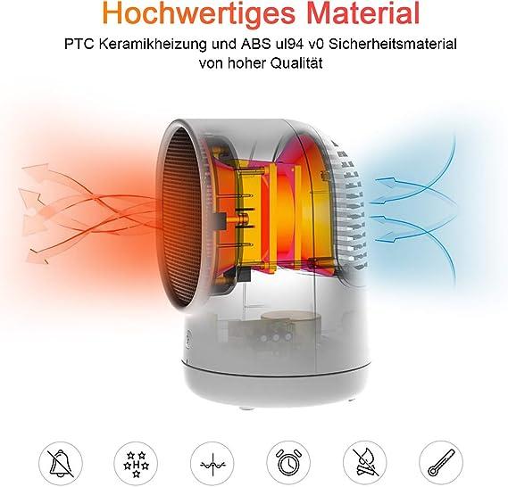 Energiesparender Betrieb f/ür Badezimmer B/üro Wohnbereich 2000W PTC-Keramikheizung Wei/ß HENMI Mini Keramik Heizl/üfter mit automatischer Oszillation Drei Leistungsstufen
