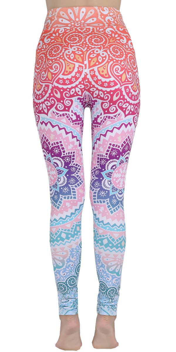 Ndoobiy High Waist Printed Leggings Women's Solid Leggings Soft Yoga Workout Pants Stretchy Capris-HW2(Colorshape PS) by Ndoobiy (Image #3)