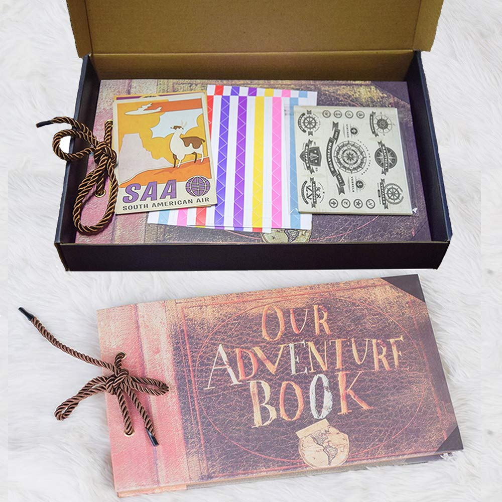 Beupro Our Adventure Book Scrapbook Photo Album Pixar Up Handmade DIY Family Scrapbook with Colorful Storage Box and DIY Accessories Kit